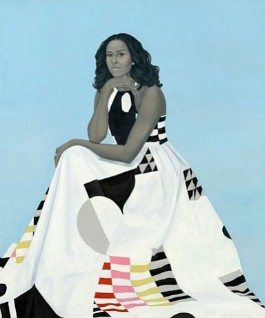Amy Sherald's take on Mrs. Obama emphasizes an element of couturial spectacle (with a dress designed by Michelle Smith) and rock-solid cool. (Credit:  Amy Sherald)