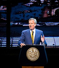 New York City Mayor Bill de Blasio delivers his fifth State of the City address at the Kings Theatre in Brooklyn on Tuesday, February 13.