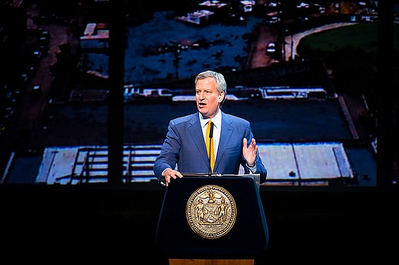 More than 2,000 city officials and supporters cheered Mayor Bill de Blasio on during his hour-long speech Tuesday evening.