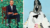 The portrait of former President Barack Obama by artist Kehinde Wiley is about 7 feet tall. In her portrait, above, by artist Amy Sherald, former First Lady Michelle Obama is wearing a flowing gown designed by Michelle Smith of Milly.