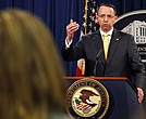 Deputy Attorney General Rod Rosenstein answers a question after announcing that the office of special counsel Robert Mueller announced a grand jury has charged 13 Russian nationals and several Russian entities, Friday, Feb. 16, 2018, in Washington. (AP Photo/Jacquelyn Martin)