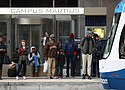 In this Jan. 26, 2018 photo, passengers wait on the QLINE transit train in Detroit. Some cities and regions are dangling racial diversity along with positive business climates, competitive tax rates and available land in pitches to lure tech companies and high-paying jobs to town. (AP Photo/Carlos Osorio)