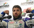 An emotional Darrell Wallace Jr. speaks to the media after finishing second in the NASCAR Daytona 500 Cup series auto race at Daytona International Speedway in Daytona Beach, Fla., Sunday, Feb. 18, 2018. (AP Photo/Phelan M. Ebenhack)