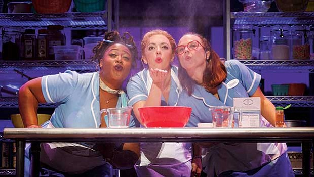 """(l-r) Charity Angél Dawson, Desi Oakley and Lenne Klingaman in the National Tour of """"Waitress."""""""