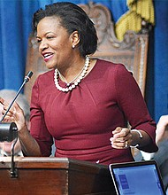 Dorcena Forry addresses the Legislature in the House chamber.