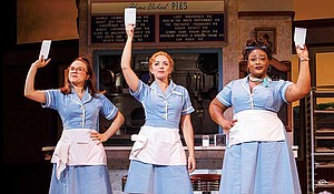 """(l-r) Lenne Klingaman, Desi Oakley and Charity Angél Dawson in the National Tour of """"Waitress."""""""