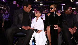 Recording artist Jay-Z, Blue Ivy Carter and Beyonce attend the 60th Annual GRAMMY Awards at Madison Square Garden on January 28, 2018 in New York City. (Photo by Christopher Polk/Getty Images for NARAS)