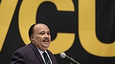 Martin Luther King III commends Florida students for their stand against gun violence and the impact of gun violence on his life during his talk Sunday at Virginia Commonwealth University.