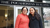 "British actress Yasmine Hassabu, right, who will portray Pocahontas in the play, ""Gravesend,"" meets Sen. Jennifer L. McClellan last week outside the state office building off Capitol Square that bears the Virginia Indian woman's name."