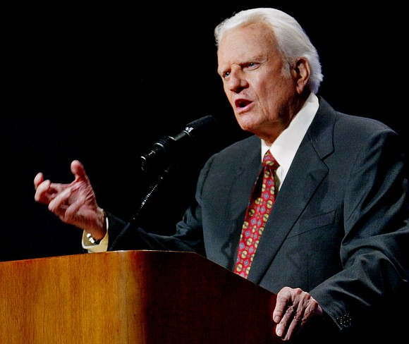 "The Rev. Billy Graham was single-minded when he preached about God, prefacing sermon points with the phrase ""The Bible says ..."
