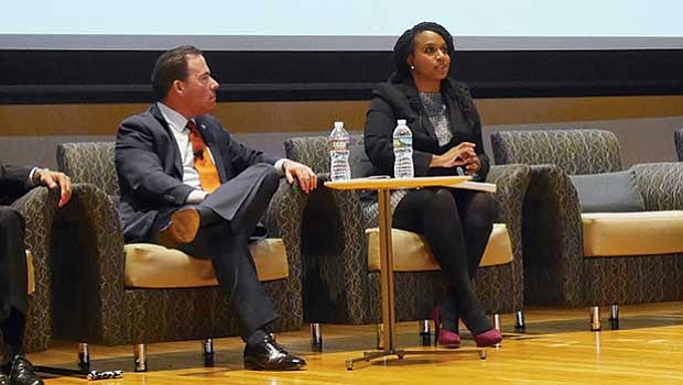 "Eastern Bank Chairman and CEO Bob Rivers and City Councilor Ayanna Pressley were part of a panel discussion at the ""Solutions to Address Racial and Economic Equality in the Commonwealth"" forum Monday night."