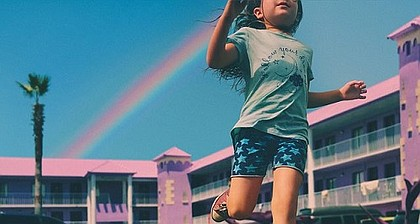 """""""The Florida Project"""" paints a compassionate portrait of the underclass of people who live on the edge of destitution in a motel next door to Disney World, and from the point of view of a child."""