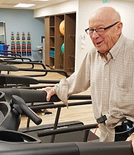 Gordon Lessing, 90, who regularly walks to stay healthy, tries out a new gym at Legacy Emanuel Hospital built specifically to help heart and pulmonary patients.