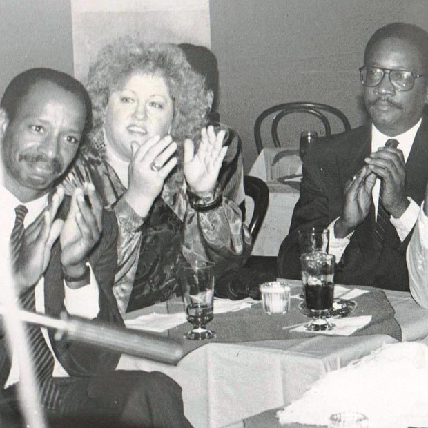 Left Band Jazz Society fans applauding the jazz combo on open nite at Ethel Ennis Baltimore Blues Alley on opening night. L/r John Fowley, Judy Webber, Fred Gant, Leon Manker and Velma Scott in 1982