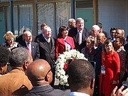 Members of Congress and local politicians pose for a photo during a wreath-laying ceremony at the National Civil Rights Museum on Friday, March 2, 2018 in Memphis, Tenn. (AP Photo/Adrian Sainz)