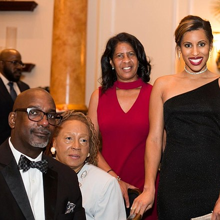 Pictured (L to R) Superintendent of Lawnside School District, Dr. Ronn Johnson, Members of Morgan State Alumni Association, Dr. Faye Ball and Candy Adkins, Jazmin Taylor, Press Pause Productions Correspondent and Jewel Johnson, Antoine Johnson LLC at cocktail hour at The Lawnside Education Foundation Inc.'s 8th Annual Dinner Dance and Silent Auction.