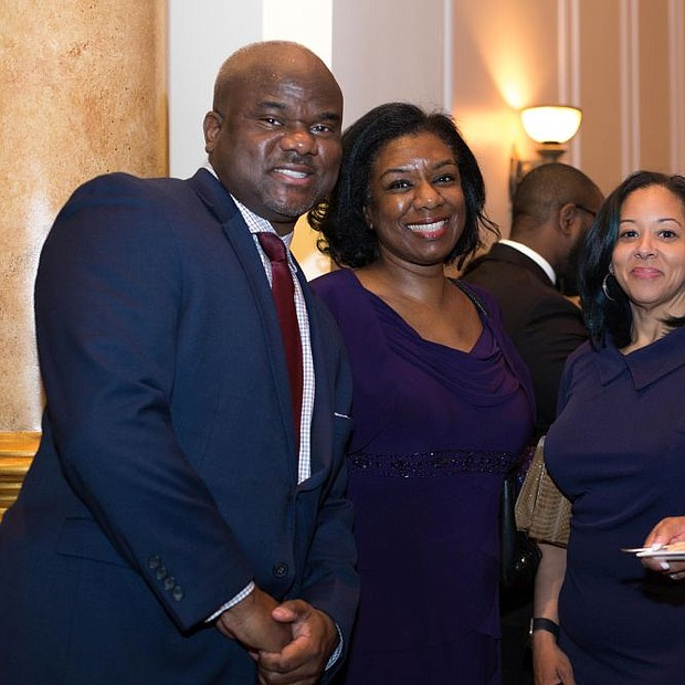 Pictured (L to R) Dallas Grundy, Board LEF; Karen Rouse Former Student of Lawnside Public,  Monique Jones, Lawnside Resident and. Gina Clay-Williams, Teacher Gifted and talented at Lawnside Public School.