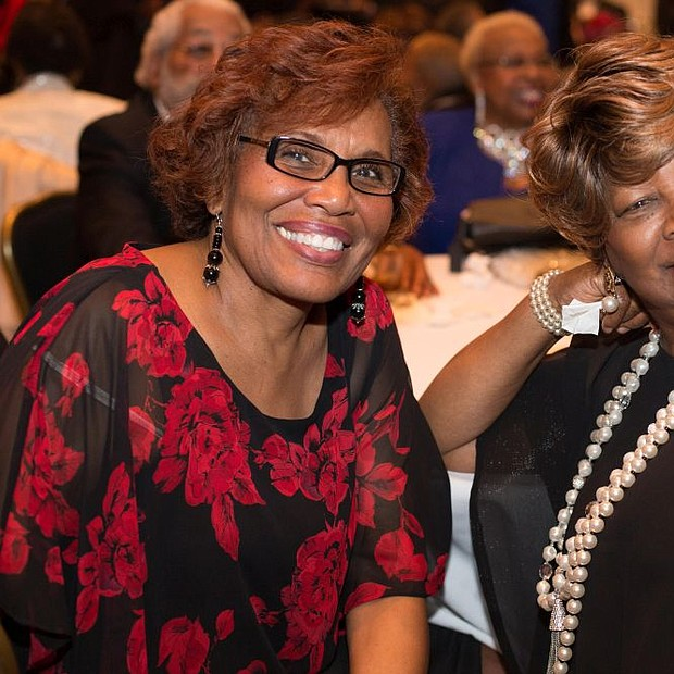 Lawnside Resident Renee Sewell enjoying cocktail hour at The Lawnside Education Foundation Inc.'s 8th Annual Dinner Dance and Silent Auction with Former Educator of Camden and Lawnside School Districts,  Jerry Wollard.