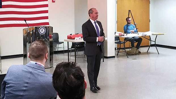 Gubernatorial candidate Jay Gonzalez appeals to voters during Dorchester's Ward 17 Democratic Caucus.