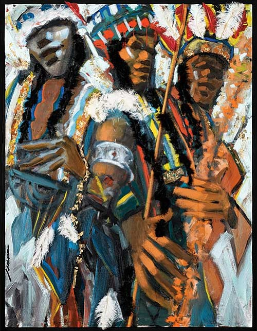 Images from the Adelson Galleries' exhibit of Robert Freeman's Mardi Gras Indian paintings.