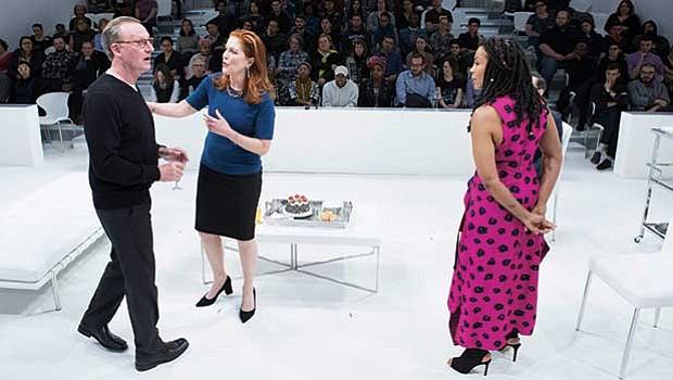 "(l-r) Daniel Gerroll, Patricia Kalember and Karen Pittman in ""The White Card."""