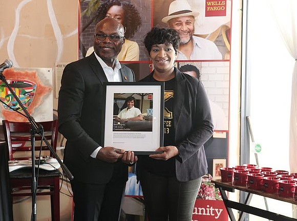 Wells Fargo saluted Orgena Keener, owner of Kaffeine Coffee Internet & Office Café, during a special Community Builders event celebrating ...