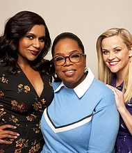"Actors Mindy Kaling from left, Oprah Winfrey and Reese Witherspoon pose for a portrait at The W Hotel in Los Angeles to promote their film, ""A Wrinkle in Time."" (Photo by [Rebecca Cabage/Invision/AP)"