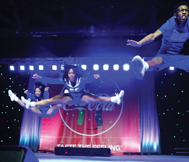 Cheerleaders from various school squads show off their moves in the CIAA Cheerleading Competition.
