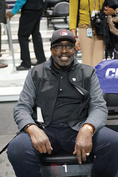 Retired NBA star Earl the Pearl Monroe, who got his start at the CIAA's Winston-Salem State University, is spotted on the sidelines.