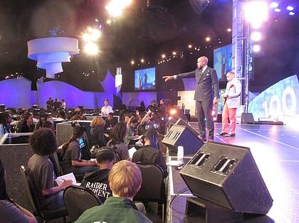 Motivational Speaker Jonathan Sprinkles speaks at the Disney Dreamers Academy