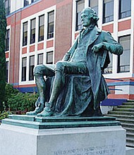 A monument of President Thomas Jefferson, donated by alumni from the school decades ago, fronts Jefferson High School.