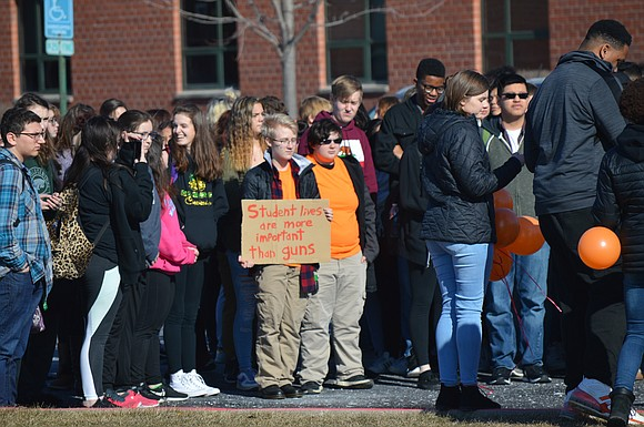 Plainfield Central students and faculty walked out of their classrooms on March 14 to mark the one-month anniversary of the ...