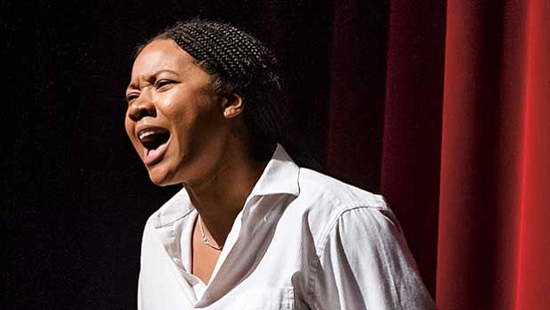 "Aundria Brown stars as Joan of Arc in Bedlam's ""Saint Joan."""