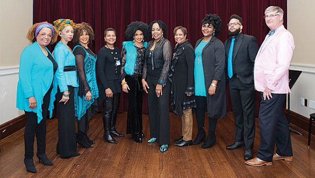 Members of Sweet Honey in the Rock pose for a pre-concert photo with Dr. Roberson, Vice President Lorita Williams, and Vice President Kevin Hepner, before taking the stage.