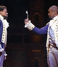 Michael Luwoye and Isaiah Johnson star in the hit Broadway musical 'Hamilton.'