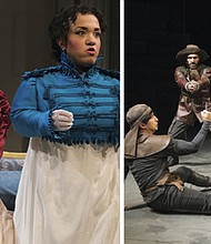 LEFT: Lucy Steele (Samantha Miller) and her sister Anne (Lauren Modica) hold a secret that will be of great interest to Elinor and to Edward's family in 'Sense and Sensibility' and RIGHT: Bardolph (Robert Vincent Frank, in back) tries to keep his drinking buddies from killing each other in 'Henvy V,' Shakespeare's play about a young king who openly struggles with the questions of what it means to be a political leader. Both plays open a new season at the Oregon Shakespeare Festival in Ashland.