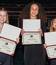 Rising to the top in the annual August Wilson Monologue Competition to promote diversity in the arts (from left) is third place winner Alyssa Marchant, a junior at Rex Putnam High School; first place winner Noreena McCleave, a senior at Wilson High School; and second place winner Kai Tomizawa, a freshman at Grant High School.
