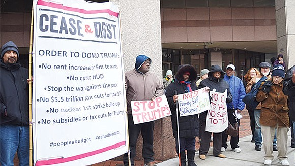 """Public housing tenants and workers from Massachusetts organized a """"cease and desist"""" rally last Friday to speak out against President ..."""