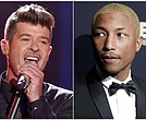 In this combination photo, Robin Thicke performs at the Teen Choice Awards in Los Angeles on Aug. 16, 2015, left, and Pharrell Williams attends the 2016 ABFF Awards: A Celebration of Hollywood in Beverly Hills, Calif., on Feb. 21, 2016.  (Photos by Matt Sayles/Invision/AP, File)