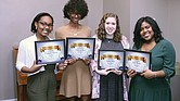 Pi Lambda Theta Virginia Area Chapter scholarship winners are, from left, Domonique Dowling of Glen Allen High School, Arkasia Wyatt of Huguenot High School, Kaitlyn Bohn of Glen Allen High and Jaela Parham of Hermitage High School.