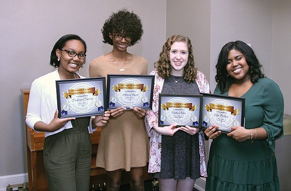 Four area high school seniors were honored by the Virginia Area Chapter of Pi Lambda Theta at its annual scholarship ...