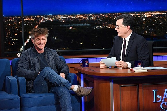 "Sean Penn may have come on ""The Late Show With Stephen Colbert"" to promote his new ""scorching"" novel, but something ..."