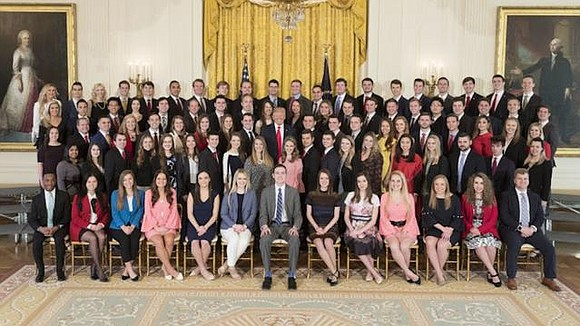 The White House is being taken to task on social media for its predominantly white class of spring 2018 interns.