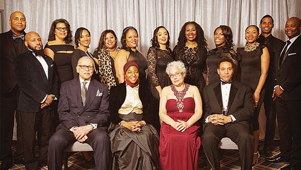 2017-2018 MBLA Board of Directors with 2018 Gala Honorees: Seated L to R, Melvin Miller, Intisar Rabb, Maria O'Brien Hylton, Keith Hylton. Standing, L to R, Treasurer Richard Champagne, D'Andre Fernandez, Executive Vice President Paige Scott Reed, Giselle Joffre, Stesha Emmanuel, Tiffanie Ellis-Niles, President-Elect Sheriece Perry, President Courtney Scrubbs, Avana Anderson, Secretary Kimberley Odums, Brandon Middleton-Pratt, Immediate Past President Stephen Hall.