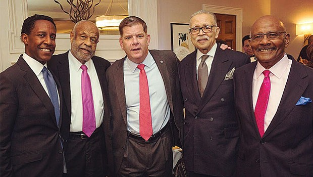 L to R: Newton Mayer Setti Warren, Fletcher Flash Wiley, Boston Mayor Martin Walsh, Melvin Miller.