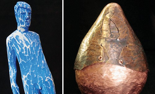 Christopher B. Wager creates figurative sculptures carved from reclaimed lumber (left). Amy Ruedinger hammers copper into three-dimensional forms (right).