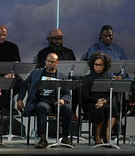(LtoR) Front Row, Angela Bassett, Marc Bamuthi Joseph, Pauletta Washington, Michelle Wilson, Back Row Common, Black Thought and Greg Reid