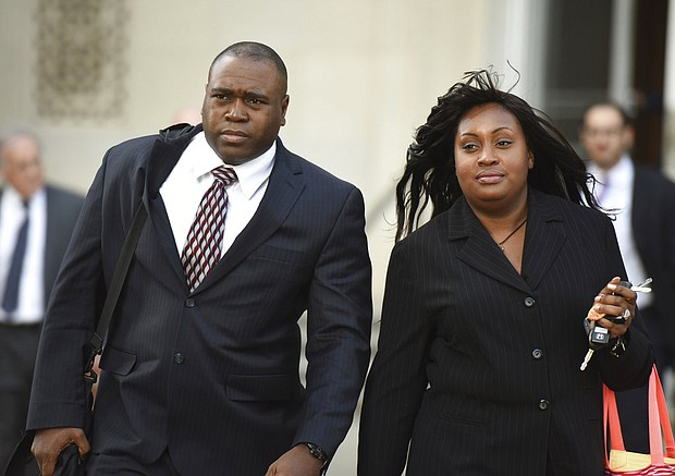 In this Oct. 17, 2014 file photo, John Jackson and his wife, Carolyn, leave the Federal Courthouse in Newark, N.J., after opening arguments in their trial on charges of child abuse. The former military couple, convicted in July of 2015 of systematically abusing their foster children, will find out on Wednesday, April 11, 2018, if their sentences will be increased. (Chris Pedota/The Record via AP, File)