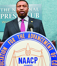 NAACP President and CEO Derrick Johnson (at podium) talks about the NAACP's lawsuit against President Donald Trump, Secretary of Commerce Wilbur Ross and the U.S. Census Bureau over management of the 2020 Census, during a recent press conference at the National Press Club in Washington, D.C. Elizabeth Johnson, (left) a resident of Prince George's County and Rushern Baker, the county executive for Prince George's County also delivered remarks. Photo: Freddie Allen/AMG/NNPA
