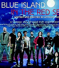 The cast/co-devisers of A Blue Island in the Red Sea includes (from left) Sean Patrick Leonard, Sam Campbell III, Pearl Paramadilok, Dana N. Anderson, P. Tyler Nielsen, Shannon Leigh Webber, Marcus D. Moore, Uday Joshi (kneeling), Andrew Rios and Esme Perez (kneeling).